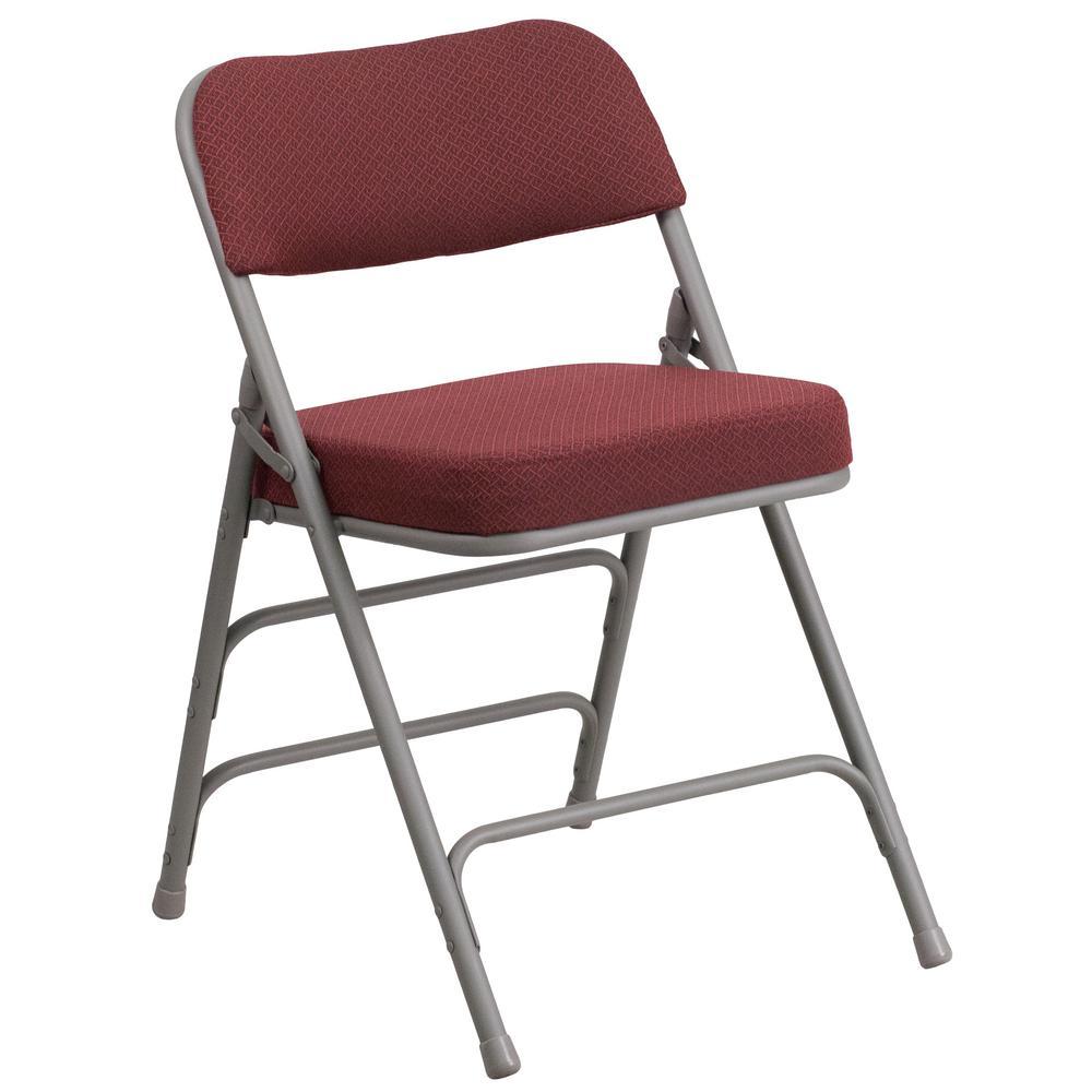 Burgundy Metal Utility Chair