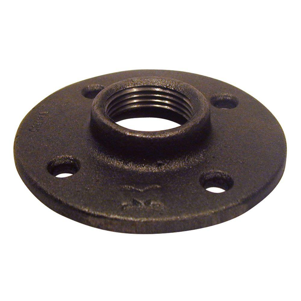 ldr industries 1 1 4 in black iron floor flange 310 f 114 the home depot. Black Bedroom Furniture Sets. Home Design Ideas
