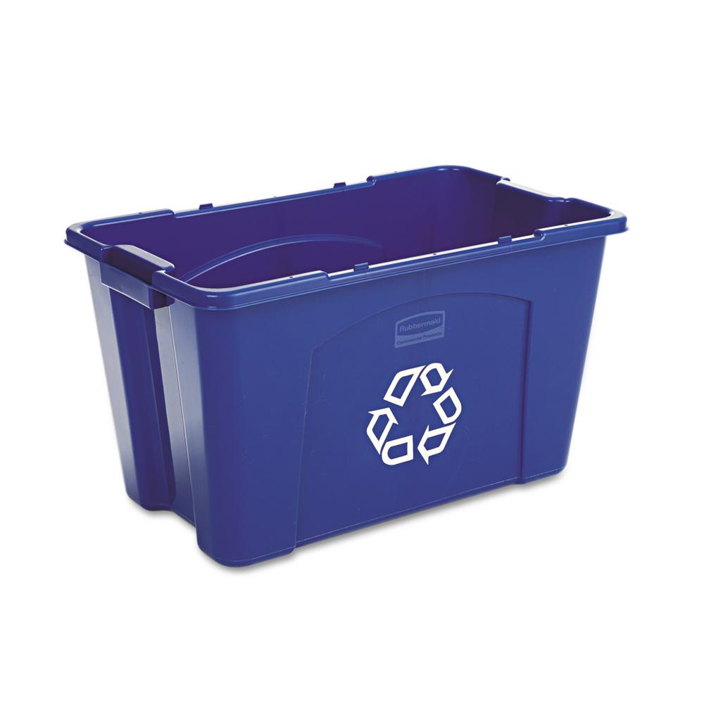 rubbermaid commercial products 18 gal blue recycling bin rcp571873be the home depot. Black Bedroom Furniture Sets. Home Design Ideas