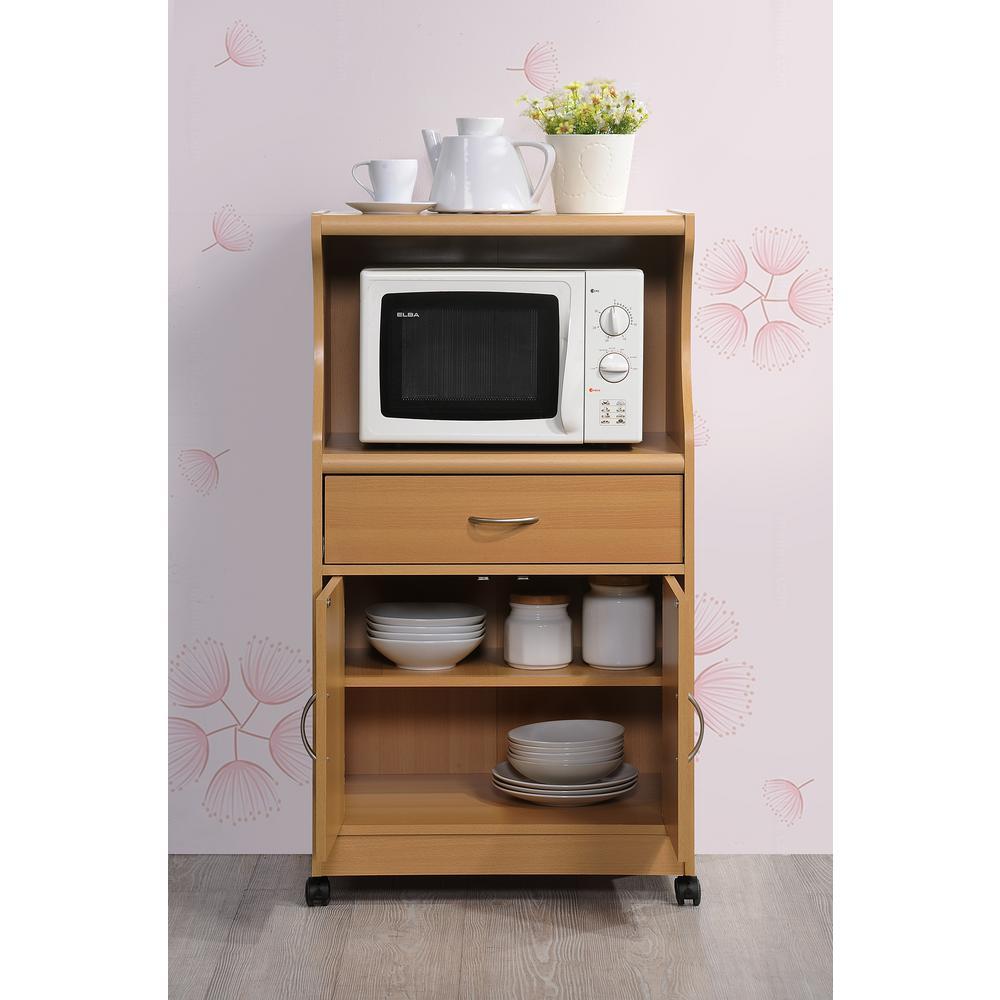 HODEDAH 1-Drawer Beech Microwave Cart HIK77 BEECH - The Home ...