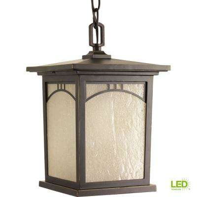 Residence Collection 1-Light Outdoor Antique Bronze LED Hanging Lantern