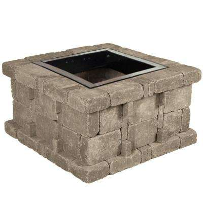 RumbleStone 38.5 in. x 21 in. Square Concrete Fire Pit Kit No. 4 in Greystone