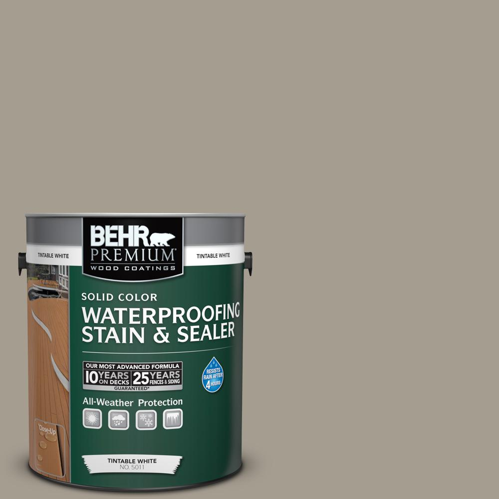 1 gal. #720D-4 Ashwood Solid Color Waterproofing Exterior Wood Stain and