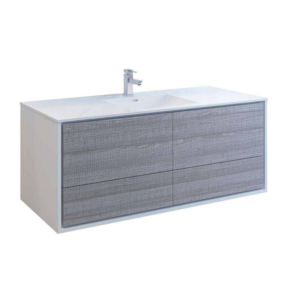 Fresca Catania 60 in. Modern Wall Hung Bath Vanity in Glossy Ash Gray with Vanity Top in White with White Basin