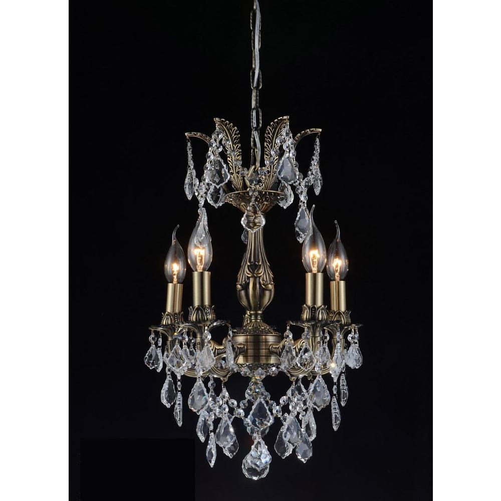 Brass 5-Light Antique Brass Pendant