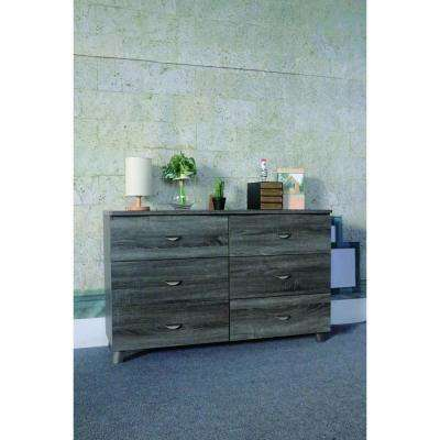 Spacious 6-Drawers Gray Dresser without Mirror