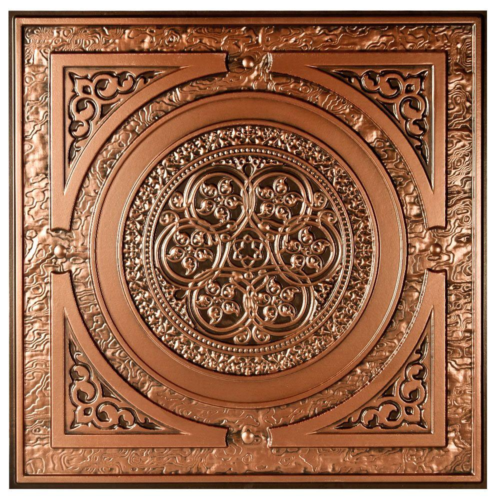 uDecor Montroy 2 ft. x 2 ft. Lay-in or Glue-up Ceiling Tile in Antique Copper (48 sq. ft. / case)