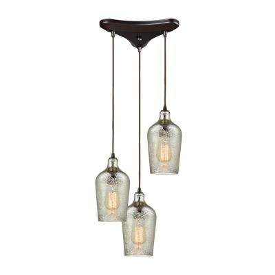 Hammered Glass 3-Light Triangle Pan in Oil Rubbed Bronze with Hammered Mercury Glass Pendant Pendant