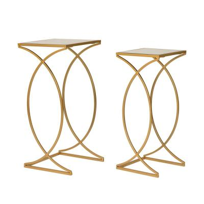 Deluxe Metal With Glass Gold Accent Table (Set of 2)