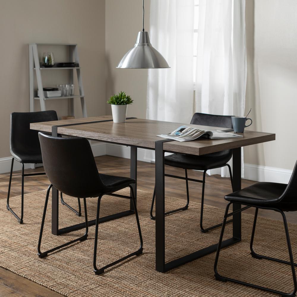 Walker Edison Furniture Company Urban Blend 5 Piece Driftwood Black Dining Set Hd60ublag 5 The Home Depot