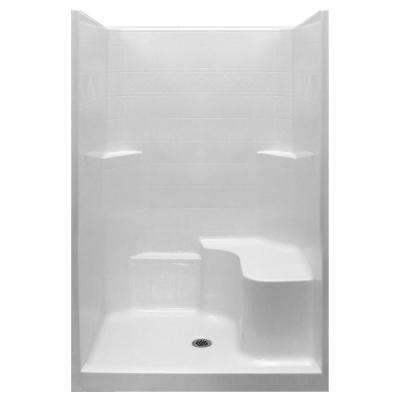 Standard 37 in. x 48 in. x 80 in. 1-Piece Low Threshold Shower Stall in White with RHS Molded Seat and Center Drain