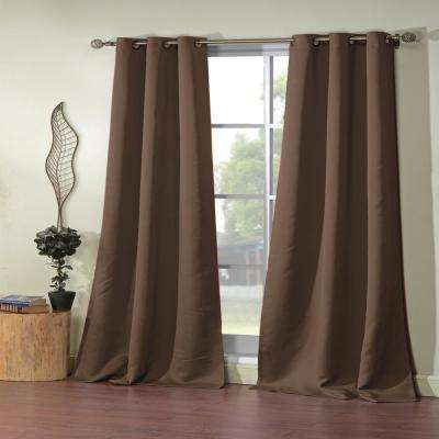 Ashmury 38 in. x 84 in. L Polyester Blackout Curtain Panel in Chocolate (2-Pack)