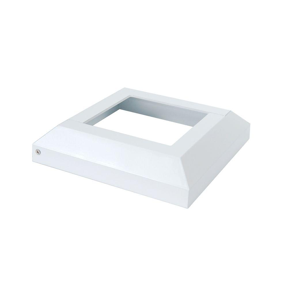 407bd6aa0fb Fortress Accents 3.5 in. x 3.5 in. White Aluminum Deck Post Base ...