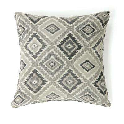 Deamund 18 in. Grey Contemporary Standards Throw Pillow (Set of 2)
