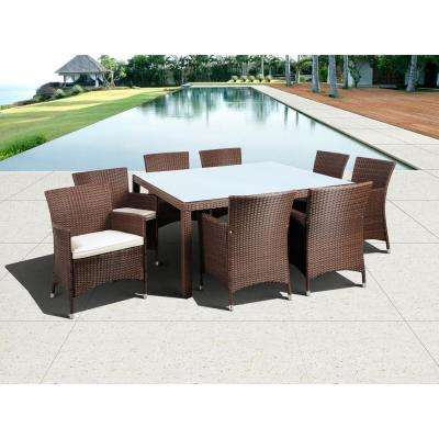 Grand New Liberty Deluxe Brown 9-Piece Square All-Weather Wicker Patio Dining Set with Off-White Cushions