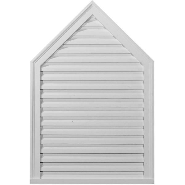 24.375 in. x 36.375 in. Steeple Primed Polyurethane Paintable Gable Louver Vent Functional