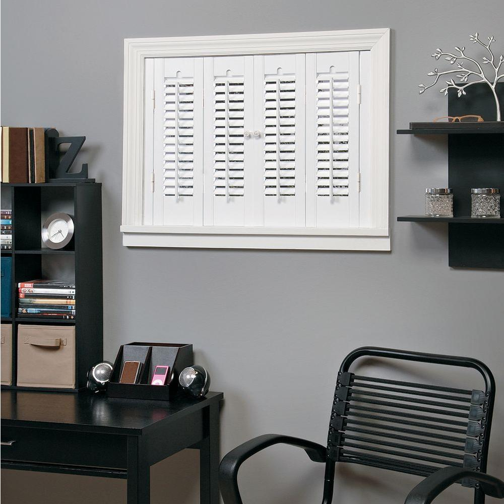 HomeBASICS Traditional Faux Wood White Interior Shutter (Price Varies By  Size) QSTA3528   The Home Depot