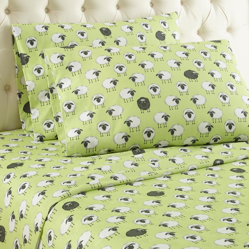 Micro Flannel 4-Piece Sheep Green Geometric Queen Sheet Set