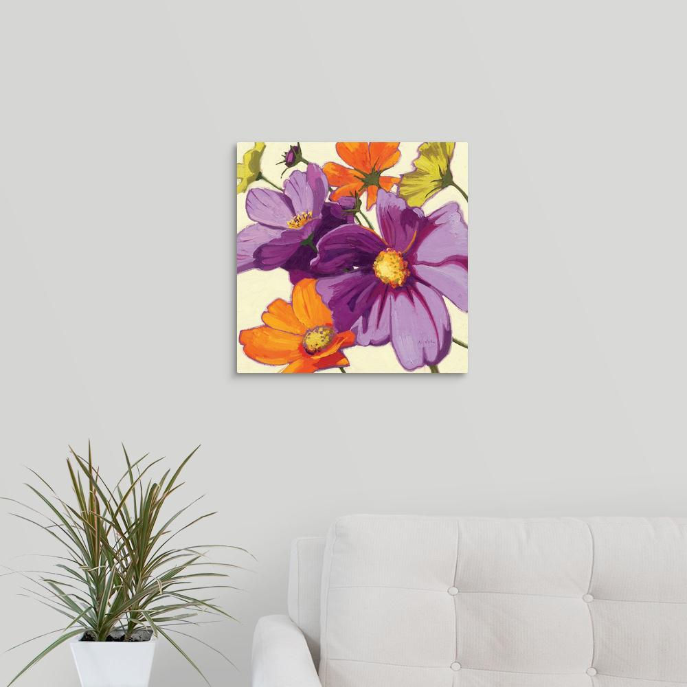 Greatbigcanvas Cosmos Ii By Shirley Novak Canvas Wall Art 1057103 24 16x16 The Home Depot