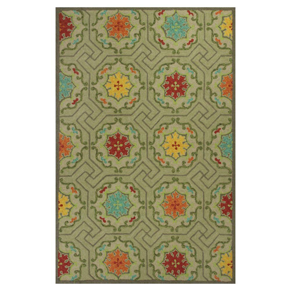 Kas Rugs High Fashion Motif Green/Red 7 ft. 6 in. x 9 ft. 6 in. Area Rug