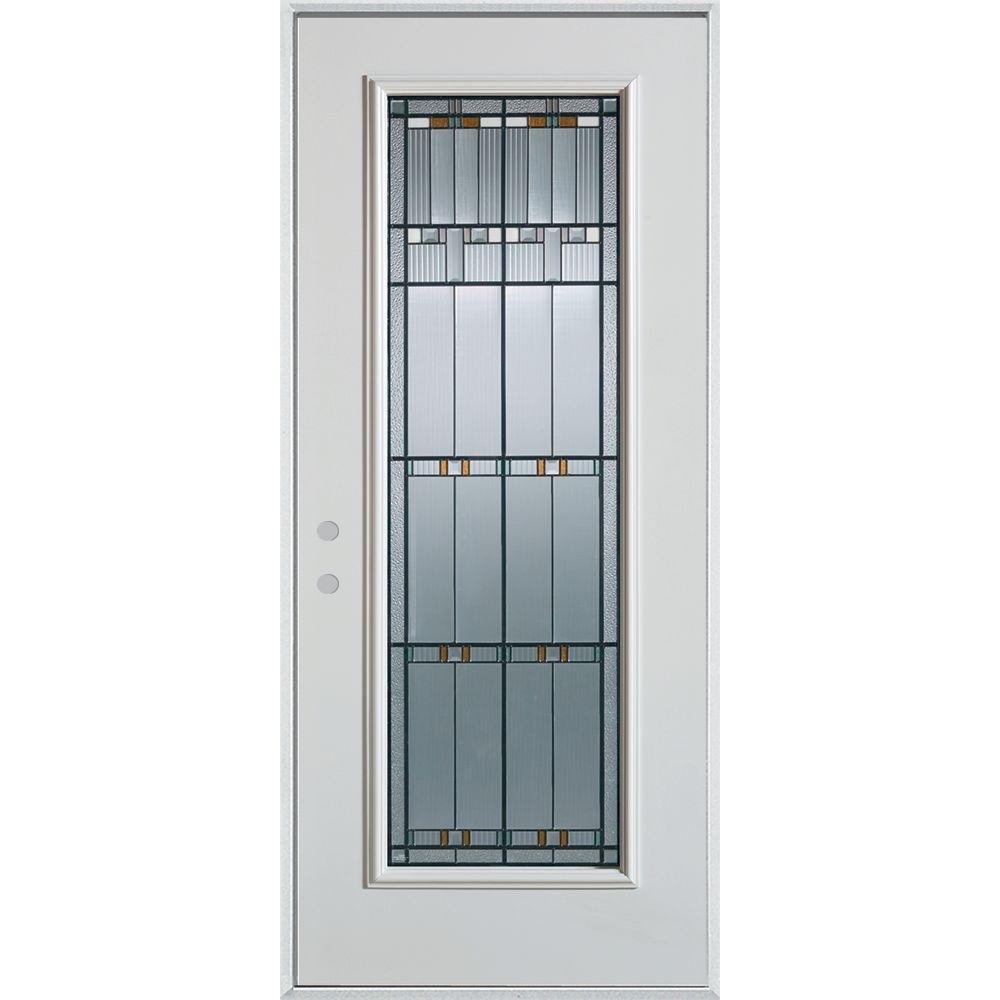 Stanley Doors 37.375 in. x 82.375 in. Right-Hand Architectural Full Lite Decorative Painted White Steel Prehung Front Door