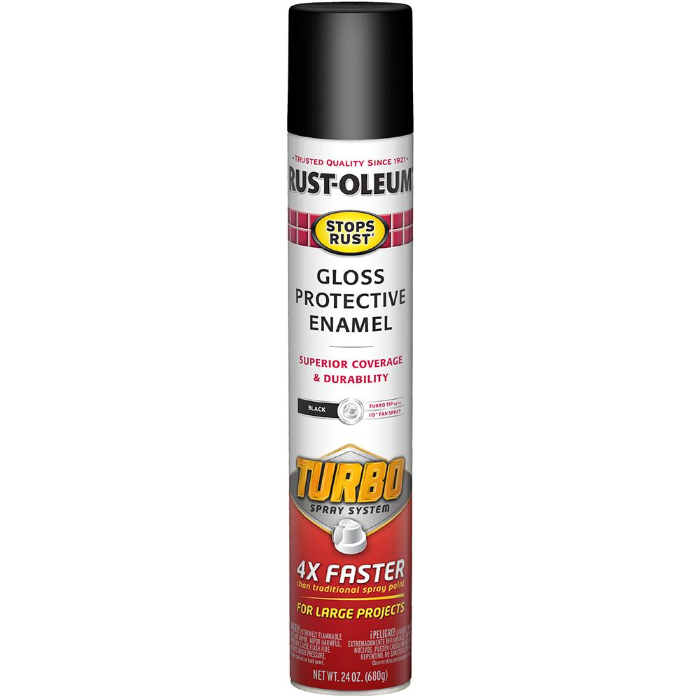 RustOleumStopsRust Rust-Oleum Stops Rust 24 oz. Turbo Spray System Gloss Black Spray Paint (6 Pack)