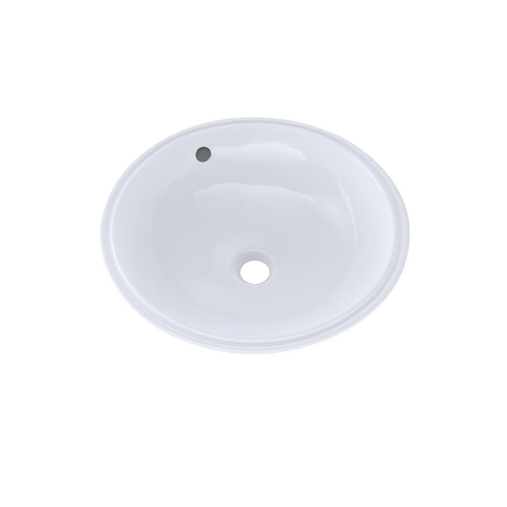 Toto 16 In Round Undermount Bathroom Sink With Cefiontect Cotton White