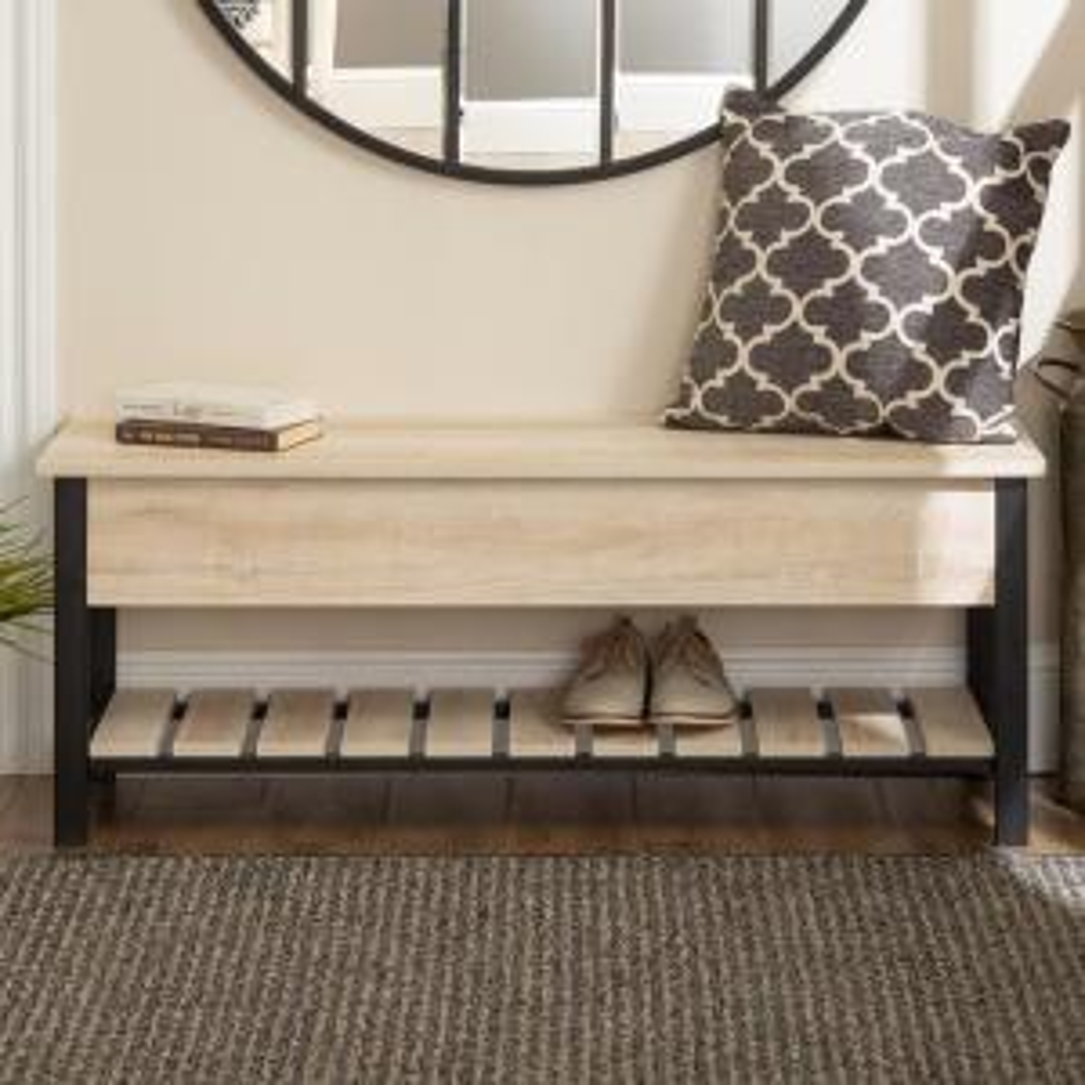 Awe Inspiring Walker Edison Furniture Company 48 In White Oak Open Top Short Links Chair Design For Home Short Linksinfo