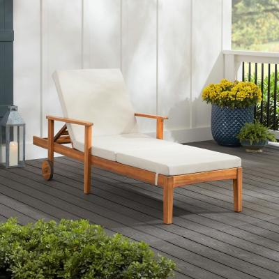 Willow Glen Farmhouse Teak Wood Outdoor Patio Chaise Lounge with Wheels in Beige Cushion
