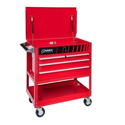 28 in. 4-Drawer Utility Cart in Red