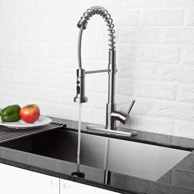 Stainless Steel Brushed Nickel Pull Out Spray Kitchen Sink Faucet