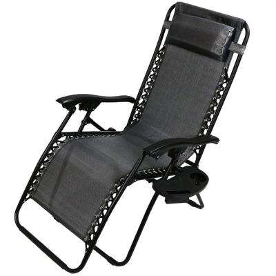 Zero Gravity Charcoal Lawn Chair with Pillow and Cup Holder