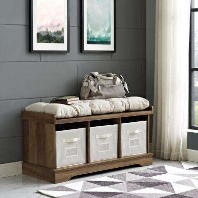 42 in. Rustic Oak Wood Storage Bench with Totes and Cushion