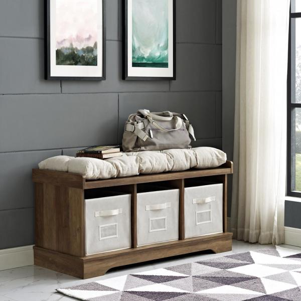 Rustic Oak Wood Storage Bench With Totes And Cushion
