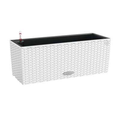 Trend Balconera Cottage 20 in. x 7 in. Rectangle White Balcony Self Watering Plastic Planter