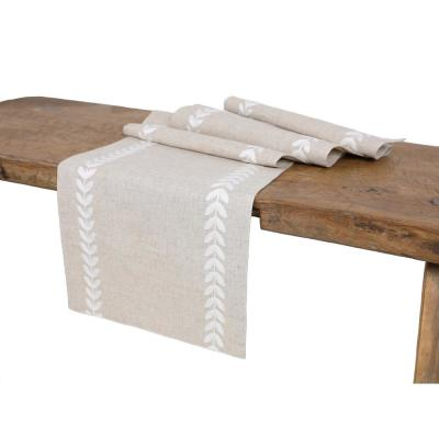 15 in. x 108 in. Cute Leaves Crewel Embroidered Table Runner, White/Natural