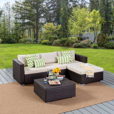 Beatrice Multi-Brown Wicker Outdoor Couch Set with Aluminum Frame and Multi-Brown Storage Coffee Table
