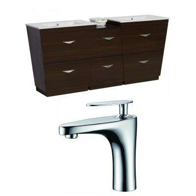 16-Gauge-Sinks 56 in. W x 18.5 in. D Bath Vanity in Wenge with Ceramic Vanity Top in White with White Basin