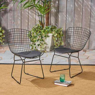 Tyson Black Armless Metal Outdoor Lounge Chair with Black Cushion (2-Pack)