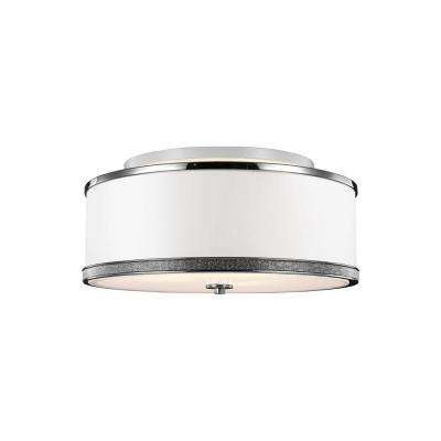 Pave 3-Light Polished Nickel Ceiling Fixture