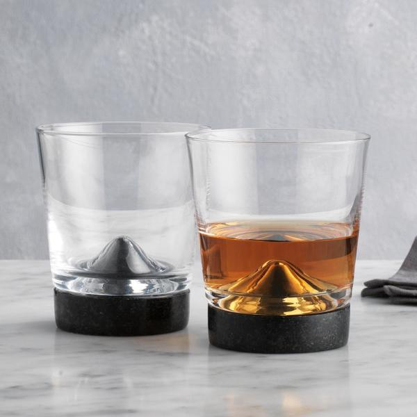 Godinger Stone Cold Black Marble Double Old-Fashioned Glasses (Pair of 2)