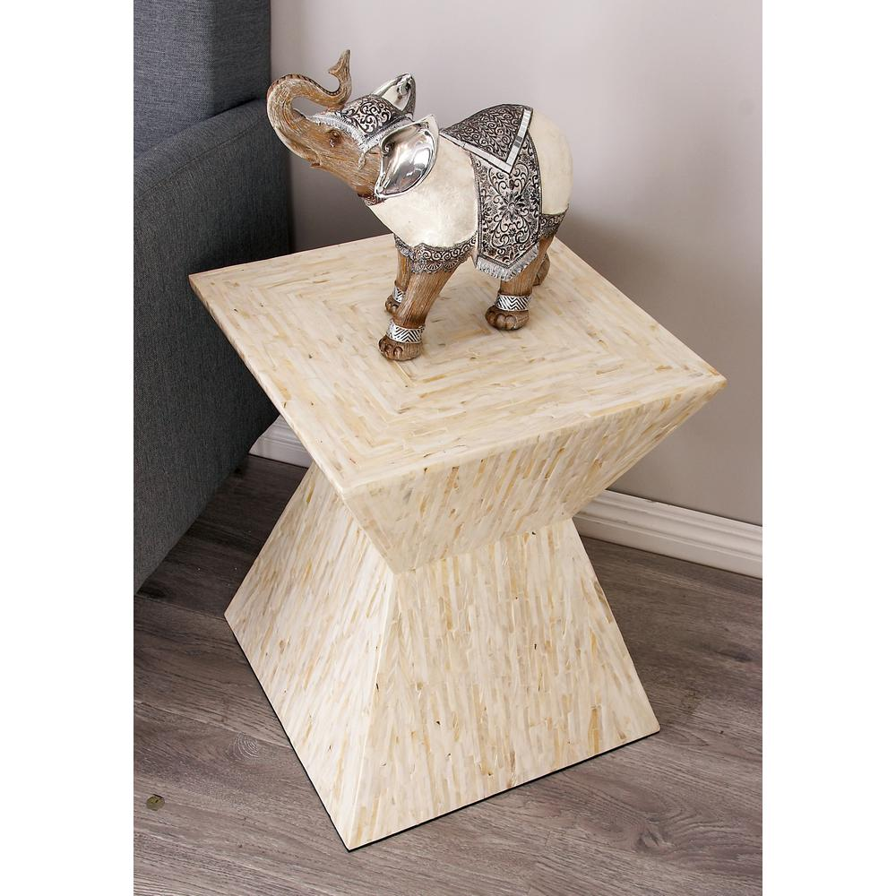 Beige Shell Inlaid Trapezoidal Accent Table