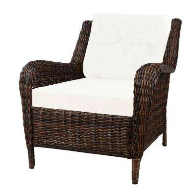 Cambridge Brown Resin Wicker Outdoor Lounge Chair with Cushions Included, Choose Your Own Color