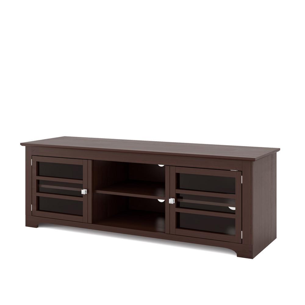 West Lake Dark Espresso Wood Veneer TV Bench for TVs up to 68 in.