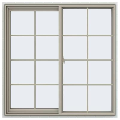 47.5 in. x 47.5 in. V-2500 Series Desert Sand Vinyl Left-Handed Sliding Window with Colonial Grids/Grilles