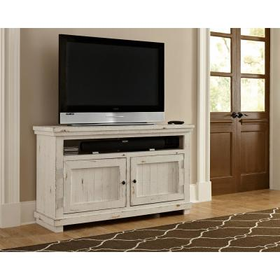Willow 54 in. Distressed White Wood TV Stand Fits TVs Up to 60 in. with Storage Doors