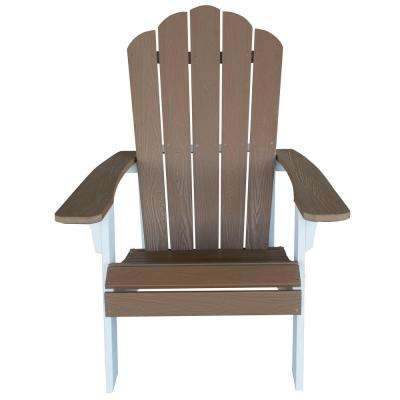 Outdoor 2-Tone Adirondack Chair with Durable Faux Wood Construction - Tan with White Accents