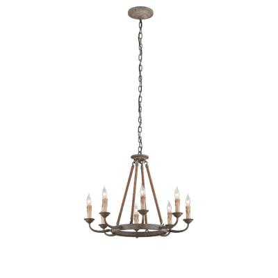 Cyrano 8-Light Earthen Bronze with Natural Manila Rope Chandelier