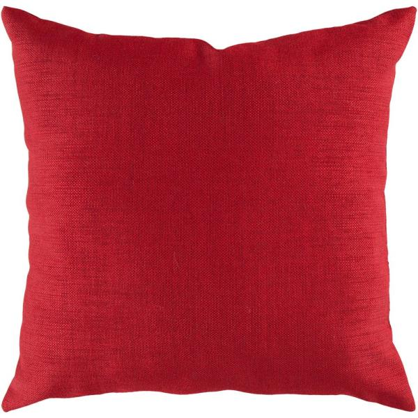 Strahlhorn Red Solid Polyester 18 in. x 18 in. Throw Pillow
