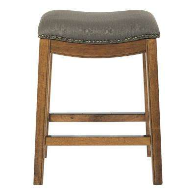 Austin 26 in. Klein Otter Fabric with Antique Bronze Nailheads Counter Stool